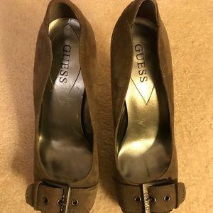 Guess brown suede heels